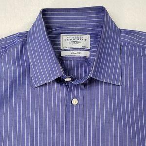 Charles Tyrwhitt Purple Striped Slim Shirt 17 35in